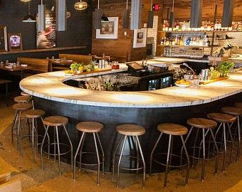 Commercial Bar Top - Modular Custom Built Bar Top for Bars, Restaurant, Bistro, Pubs or Eatery - Material of Your Choice - Rebecca Golden - Re-Wilding Rustic Outdoor Bar Stools, Industrial Bar Stools, Metal Bar Stools, Metal Stool, Industrial Basement Bar, Industrial Bars, Restaurant Bar Stools, Restaurant Seating, Modern Restaurant