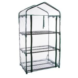 Home Complete 27 1 In W X 19 3 In D X 63 3 In H 4 Tier Mini Greenhouse Hw155000 The Home Depot In 2020 Greenhouse Cover Mini Greenhouse Portable Greenhouse
