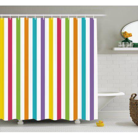 Rainbow Shower Curtain Minimalist Line Art With Different Vibrant