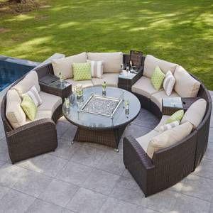 Moda Furnishings 8 Seat Rattan Half Moon Sofa With Gas Firepit In