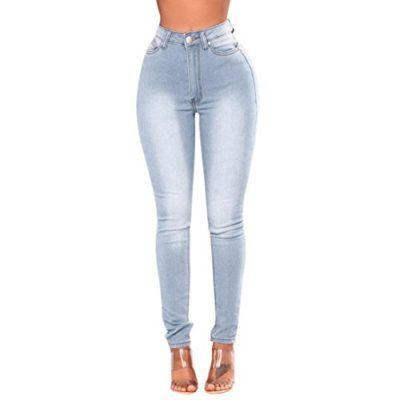 687031f83649 Vaqueros Slim fit Mujer Talle Alto,Flaco Pantalones Largos lápiz ...