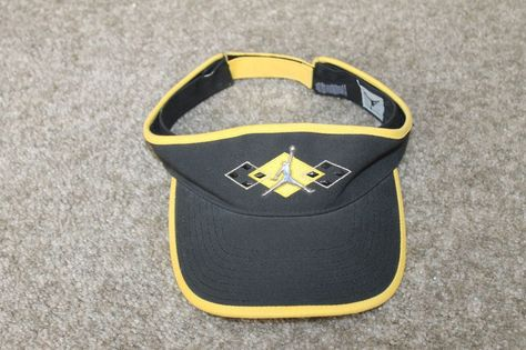 2dc4f8e921e35 switzerland air jordan jumpman visor hat golf adult mens womens adjustable  black yellow nikejordan visor eb25d