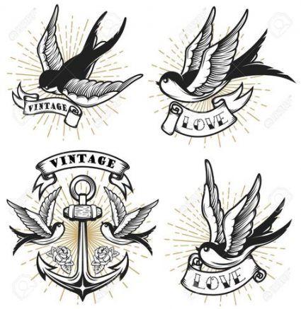 Best Vintage Bird Tattoo Sleeve Ideas Vintage Bird Tattoo Bird Tattoo Sleeves Old School Tattoo Designs