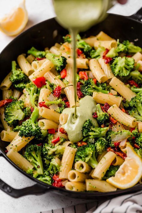 Lemony Basil Creamy Vegan Pasta With Broccoli Sundried Tomatoes