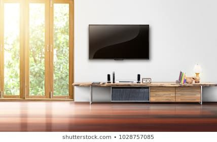 Living Room Led Tv On White Wall With Wooden Table Empty Interrior Living Room Interior Royalty Free Stock Images Living Room Interior White Walls Living Room