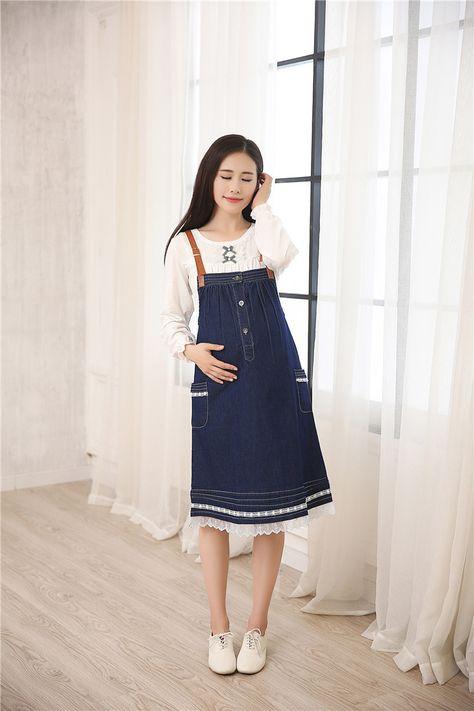 Aliexpress.com: Comprar Envío gratis ropa de maternidad del verano de mezclilla vestido de la correa 100% algodón ocasional más tamaño para las mujeres embarazadas pantalones vaqueros azules visten tops de cosecha de algodón fiable proveedores en Mamma Mia Shop