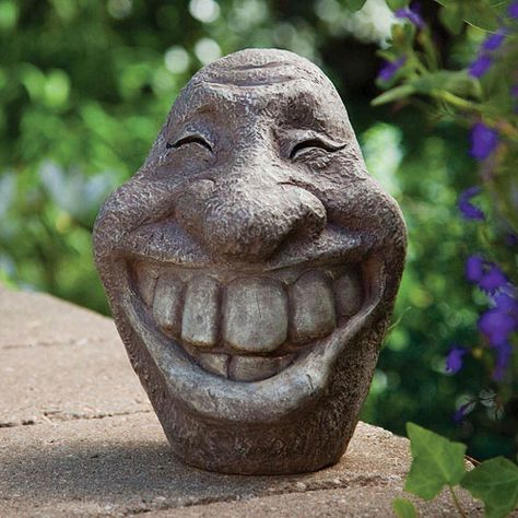 Big Stone Smiley Face Polyresin Garden Statue Perfect Ornament For Your Porch Or