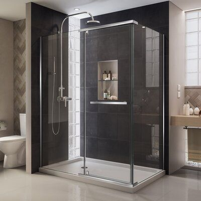 Dreamline Quatra 46 32 W X 72 H Pivot Frameless Shower Door With Clear Max Technology Framed Shower Enclosures Shower Enclosure Frameless Shower Enclosures