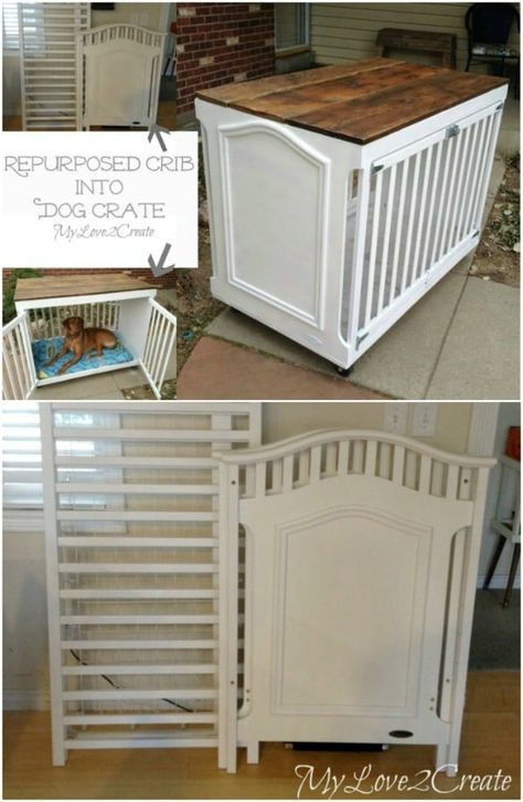 DIY wooden dog crate with plans and instructions!DIY wooden dog crate with plans and instructions! Try it simple DIY dog beds and crates to pamper your puppy Diy Dog Crate, Dog Crate Cover, Dog Crate Table, Wood Dog Crate, Crate Bench, Dog Crate Beds, Crate Nightstand, Dog Crate Furniture, Concrete Furniture