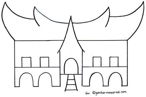 Gadang Traditional House Coloring Pages Gambar