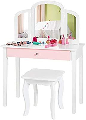 Amazon Com Costzon Kids Vanity Table Princess Makeup Dressing Table With Drawer Tri Folding Mirror 2 In 2020 Kids Vanity Dressing Table With Drawers Vanity Table