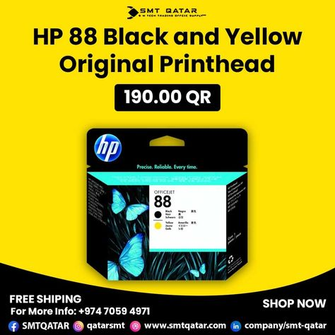 HP 88 Black and Yellow Original Printhead with free shipping all over Qatar.