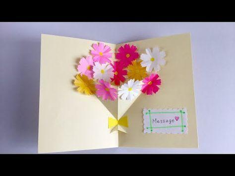 Flower Basket Pop Up Card Tutorial Youtube Easy Birthday Cards