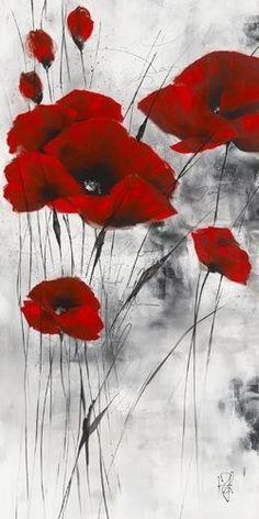 Heldere Rode Bloemen Mohn Malerei Blumen Malen Acryl Blumen Malen