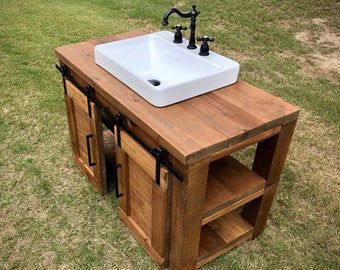 Bathroom Vanity Single Vanity Or Double Vanity Barn Wood Etsy In 2021 Custom Bathroom Vanity Reclaimed Barn Wood Vanity Farmhouse Bathroom Vanity