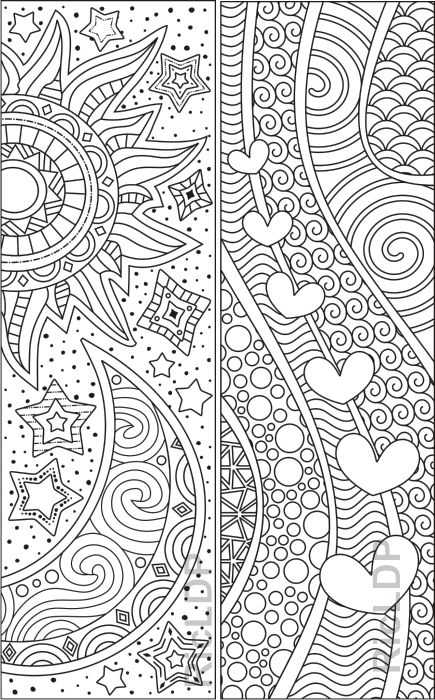 8 Abstract Design Coloring Bookmarks (plus 2 colored items ...