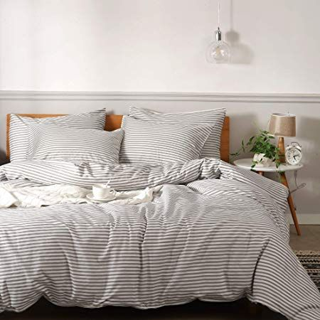 Amazon Com Jellymoni 100 Natural Cotton 3pcs Striped Duvet Cover Sets White Duvet Cover With Grey Stripes White Duvet Striped Duvet Covers White Duvet Covers