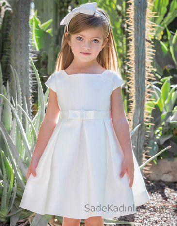 2020 Kiz Cocuk Abiye Elbise Beyaz Kisa Kollu Kare Yaka Kabarik Etekli Elbise Sirin Elbiseler Kizlar