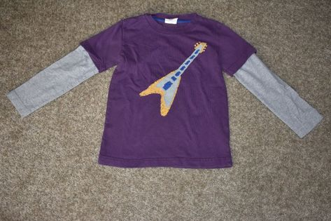 Mini boden boys applique purple heathered gray guitar layered t