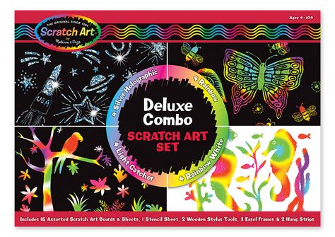 Rainbow Painting Sketch Pad Night View Scratchboard for Adult and Kids 2 Pack#1 with Wooden Stylus Eraimp Scratch Art Paper Exquisite Packaging