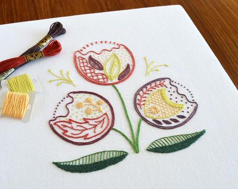 Leaves Blow hand embroidery pattern, , a modern embroidery PDF pattern