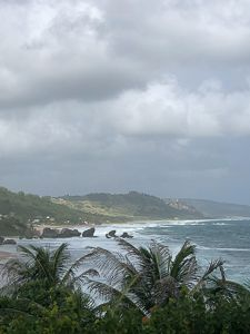 The east coast of Barbados  Constant trade winds blow here