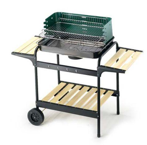 Barbecue in acciaio da esterno, con sistema di aerazione, paravento e griglia riscalda vivande.