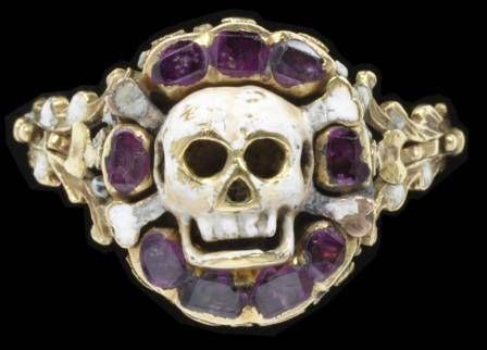 Rubies cushion an enameled gold skull and crossbones in this ring from northwestern Europe, ca. 1550-75.  Photo © Victoria and Albert Museum, London