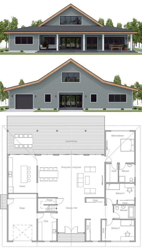 Floor plan ideas, Home Plan, Farmhouse Plans Barn Style House Plans, Barn Homes Floor Plans, Metal House Plans, Metal Barn Homes, Pole Barn House Plans, New House Plans, Dream House Plans, Small House Plans, House Floor Plans