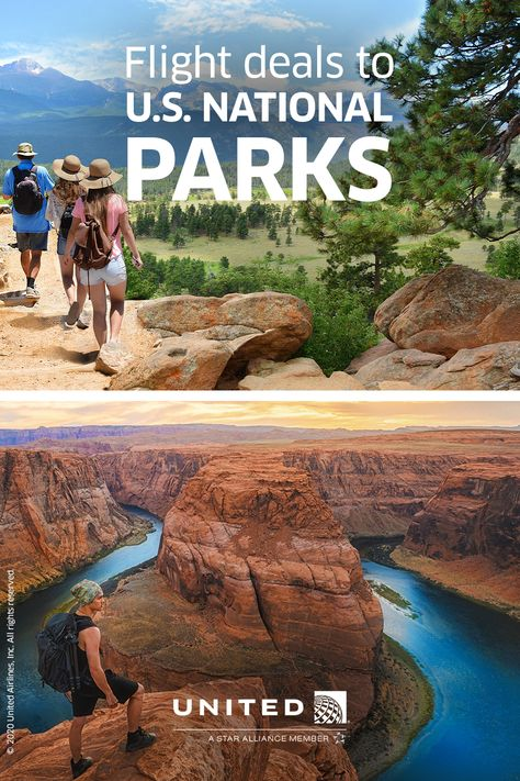 United has more flights to more U.S. National Parks than any other airline. Explore the great outdoors with these flight deals. Ways To Travel, Travel Usa, National Parks Usa, Christmas Travel, Beautiful Places To Travel, Future Travel, Vacation Trips, That Way, The Great Outdoors