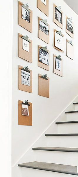 Use clipboards for a changeable photo gallery http://www.bhg.com/home-improvement/remodeling/before-and-after/vintage-cottage-renovation/#page=15