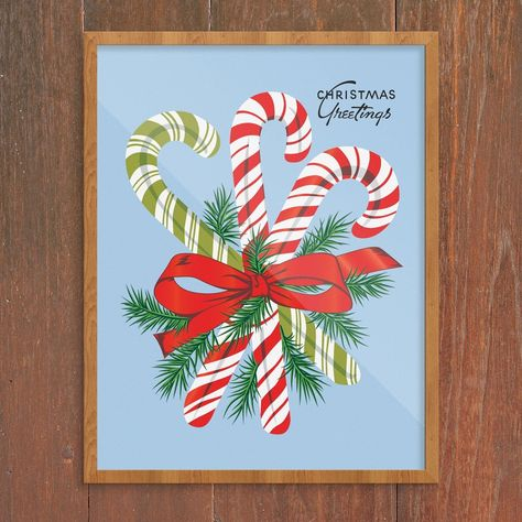 Christmas Greetings Candy Canes Print