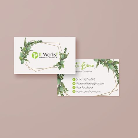 Custom Greenery It Works Business Cards, It Works Global Cards, It Works IW15 - 12 hours