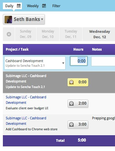 Cashboard - Weekly timesheet tool Graphic Design Web Tools - sample project timesheet