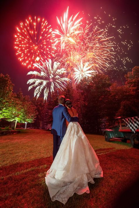 Check out the #weddingceremony details of Ellie Monahan and Mark Dobrosky including a #fireworksshow to end their night.