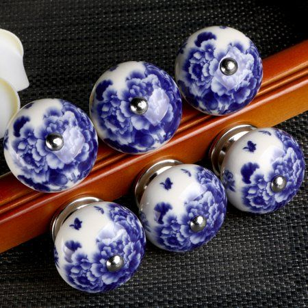 Pin On Da Blue, Hand Painted Porcelain Cabinet Knobs
