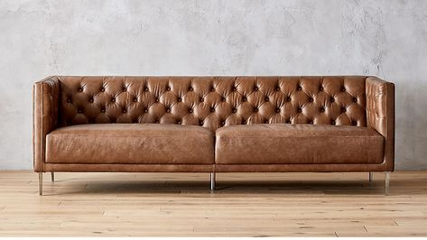 Saddle Brown Leather Sectional Sofa In