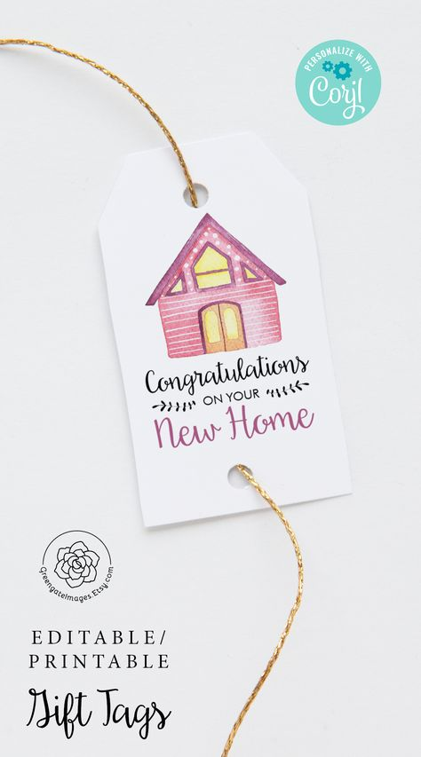 #housewarming #housewarmingideas #newhome #newhouse #congratulations #happyhousewarming #realtorsupplies #realestate #gifttag #printablegifttag #hangtag #multipurposetag #nametag #corjl #editable #personalized #custom #favorbagtag #favortag #instantdownload #partyprintables #pinkhouse