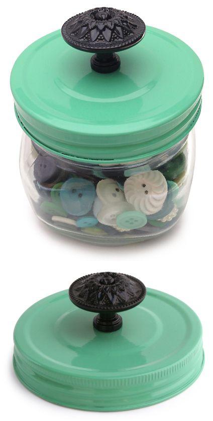 Spray paint a Mason Jar lid and add a cool vintage knob. Loooove this!