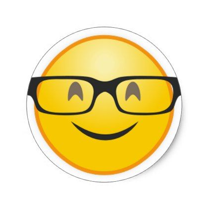 Smiling Face With Nerd Glasses Funny Emoji Sticker Zazzle Com In 2021 Emoji Stickers Nerd Glasses Funny Glasses