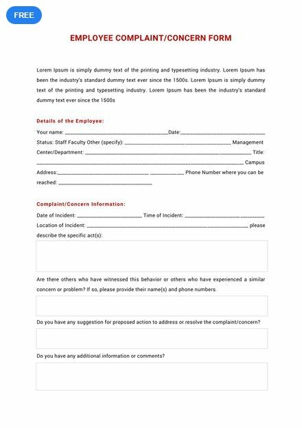 Free Hr Employee Complaint Concern Form Templates Word