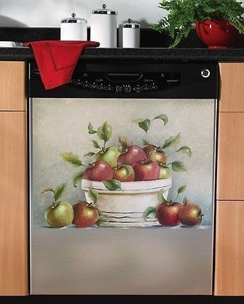 Red Apple Kitchen Decor Red Apple Magnetic Dishwasher Cover