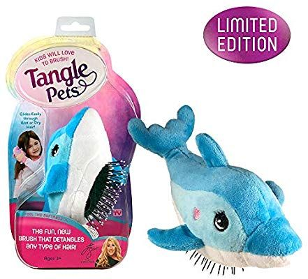 Amazon Com Tangle Pets Fin The Dolphin The Detangling Brush In A Plush Great For Any Hair Type Removable P Curly Hair Photos Super Cute Animals Detangler