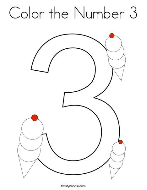 Color The Number 3 Coloring Page Twisty Noodle Preschool Coloring Pages Coloring Pages Kids Worksheets Preschool
