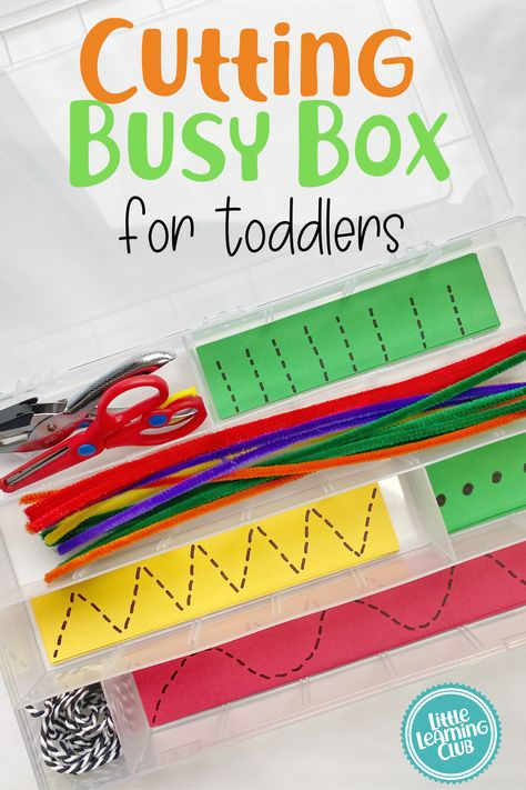 A great toddler activity to really work those find motor skills! We filled our box with paper, string, pipe cleaners and added a hole punch as well for an added activity. this was such a hit with our three year old. Fine motor activities for preschoolers Cutting Activities, Activities For 2 Year Olds, Motor Skills Activities, Preschool Learning Activities, Educational Activities, Toddler Activities, Preschool Activities, Educational Websites, Therapy Activities