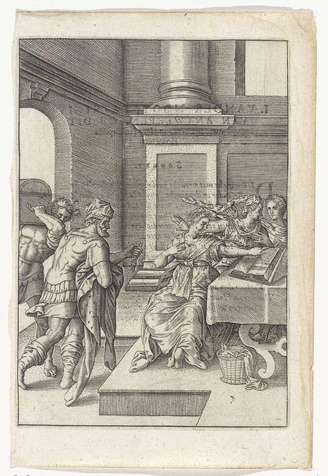 Johannes Wierix | Minachting van de juwelen, Johannes Wierix, Anonymous, 1614 - 1616 | Drie vrouwen zitten rond een tafel, één van hen bladert door een boek. Twee mannen komen het vertrek binnen, één van hen draagt een kist op zijn schouder. De ander heeft een ketting en een mantel in de handen.
