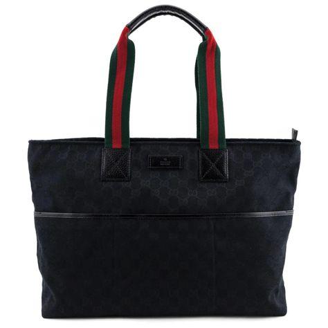 Gucci Black Gg Canvas Web Diaper Bag Gucci Diaper Bag Gucci Black Bags