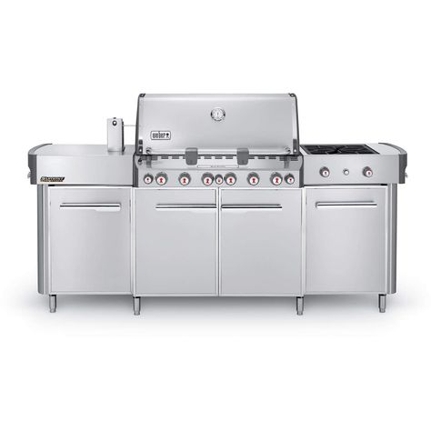 Weber Summit Grill Center Natural Gas Grill With Rotisserie Sear Burner Side Burner Stainless Steel 292001 Outdoor Kitchen Countertops Propane Gas Grill Outdoor Kitchen Bars