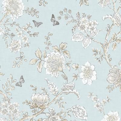 Norwall Butterfly Toile Vinyl Roll Wallpaper Covers 55 Sq Ft Fh37537 The Home Depot Toile Wallpaper Blue Wallpapers Norwall