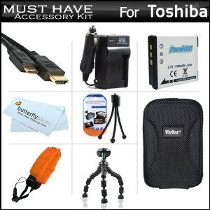 """Must Have Accessories Kit For Toshiba Camileo BW10 Waterproof HD Video Camera Includes Extended Replacement (900 maH) PX1686 Battery + Ac/Dc Travel Charger + Mini HDMI Cable + Hard Case + FLOAT STRAP + 7"""" Flexible Tripod + More (Electronics)  http://www.amazon.com/dp/B005LRSI8I/?tag=goandtalk-20  B005LRSI8I"""